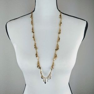 "32"" Long Gold Tone Necklace w/ Rhinestone Accents"